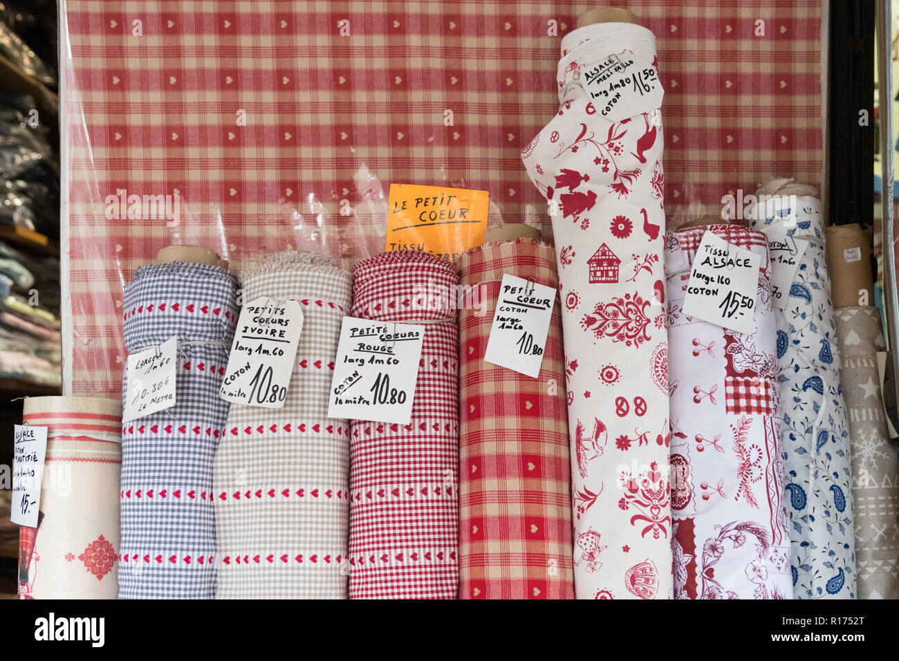 Alsatian traditional cotton fabric for sale in Strasbourg, France - Stock Image