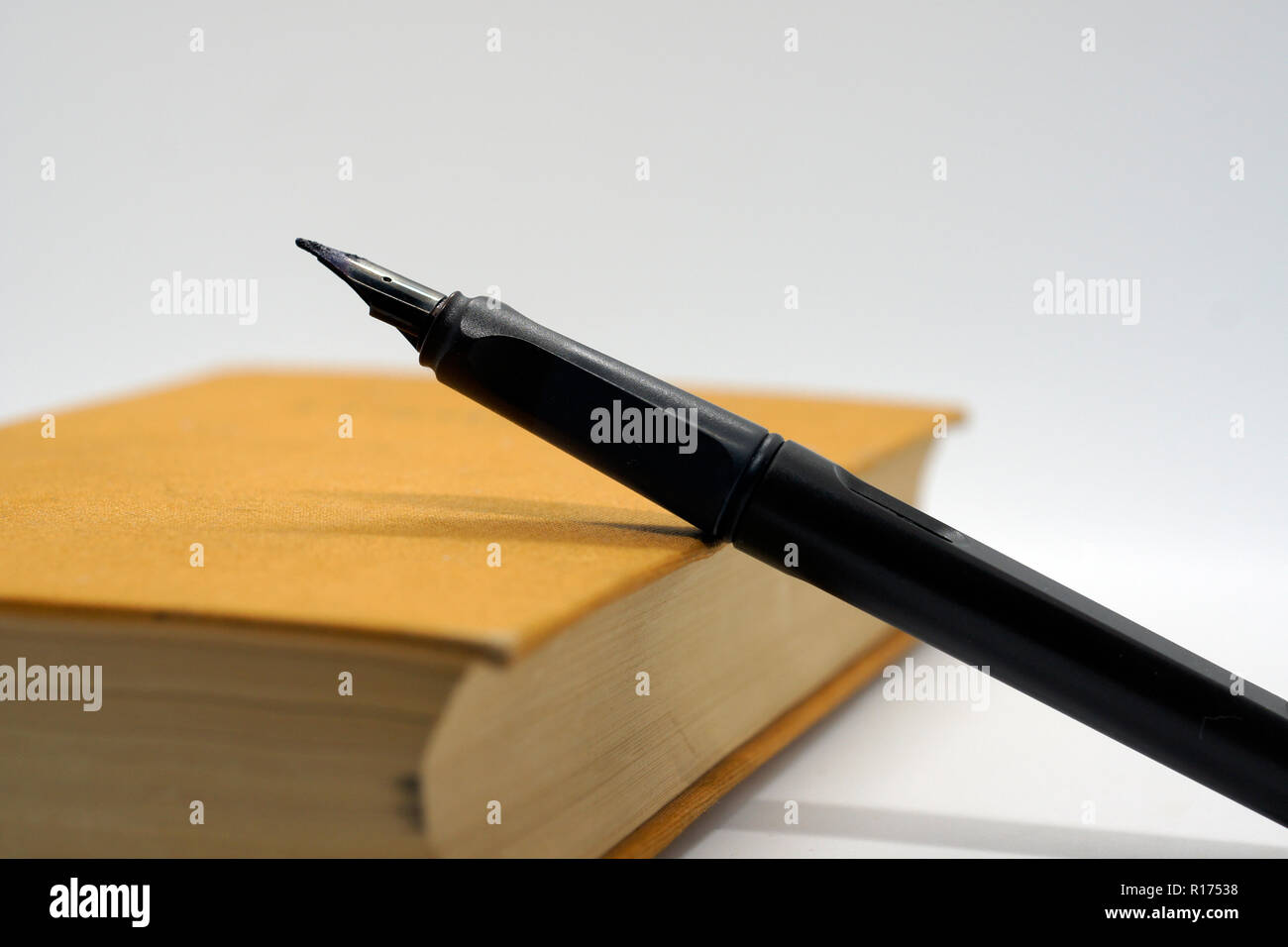 black pen at brown hard covered book - Stock Image