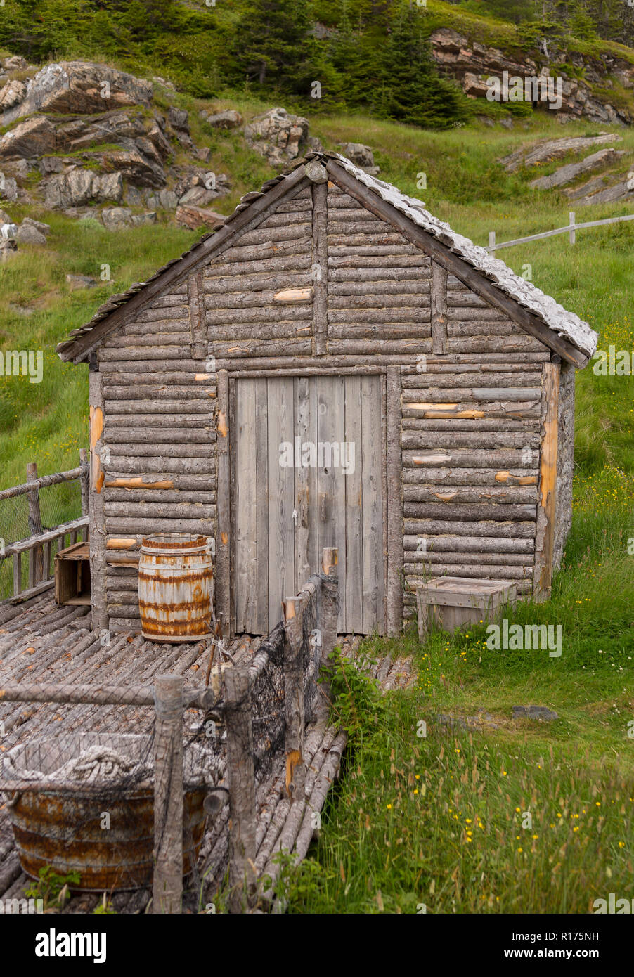 CAPE RANDOM, NEWFOUNDLAND, CANADA - Random Passage movie set, replica of fishing village. - Stock Image