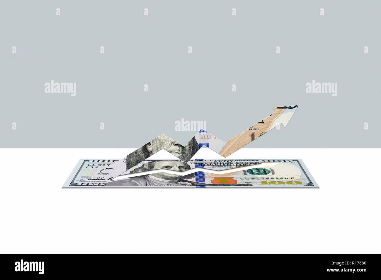 100 US dollar note in shape of upward arrow - Stock Image