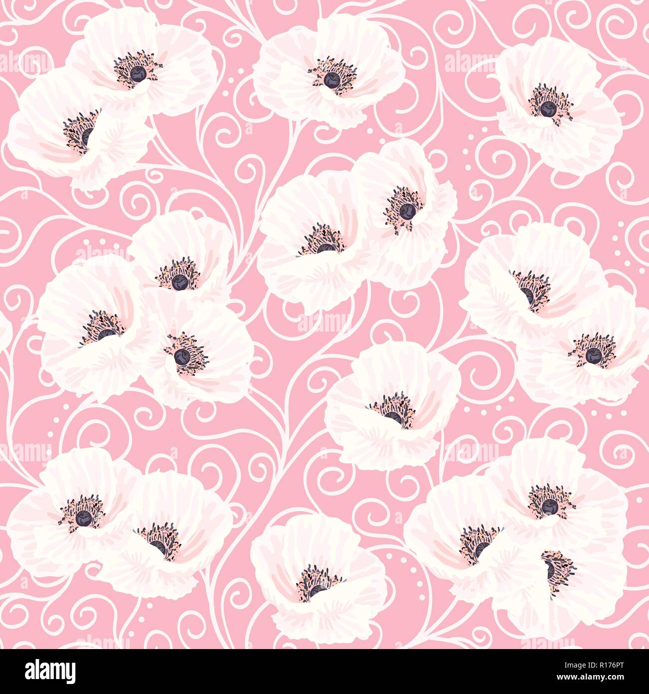 Tender white vector anemones and white liana on the pink background seamless pattern - Stock Vector