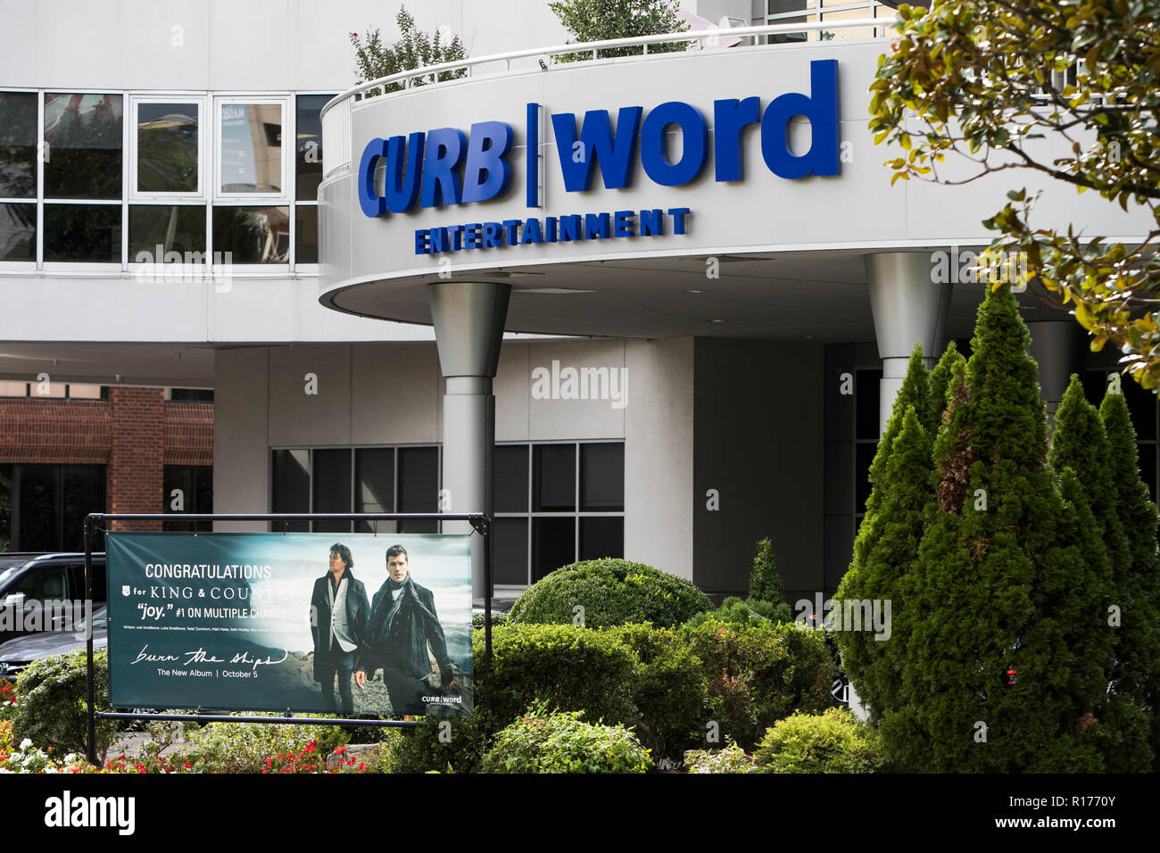 A logo sign outside of the headquarters of Curb Records and Word Entertainment in Nashville, Tennessee, on October 9, 2018. - Stock Image