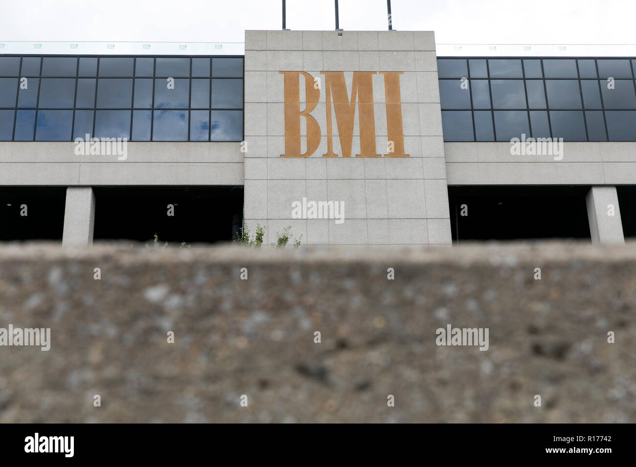 A logo sign outside of a facility occupied by Broadcast Music, Inc. (BMI) in Nashville, Tennessee, on October 9, 2018. - Stock Image