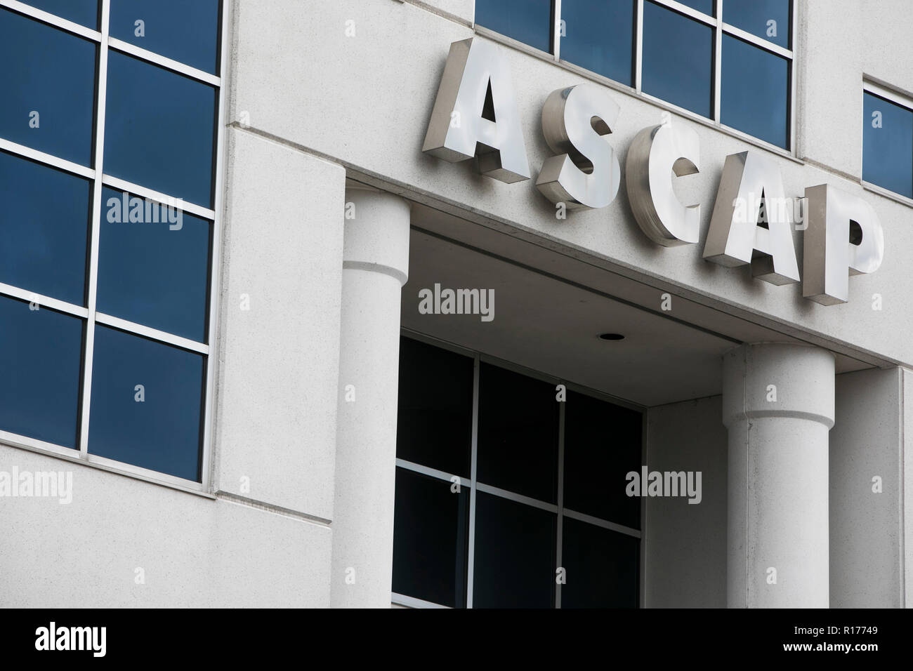 A logo sign outside of a facility occupied by The American Society of Composers, Authors, and Publishers (ASCAP) in Nashville, Tennessee, on October 9 - Stock Image