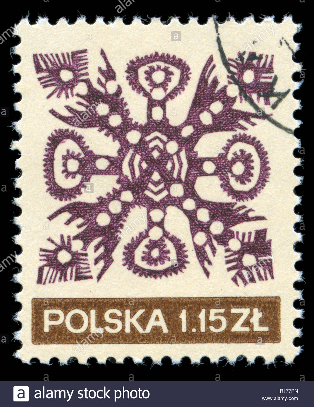 Postage stamp from the Poland in the Folk Art series issued in 1971 - Stock Image