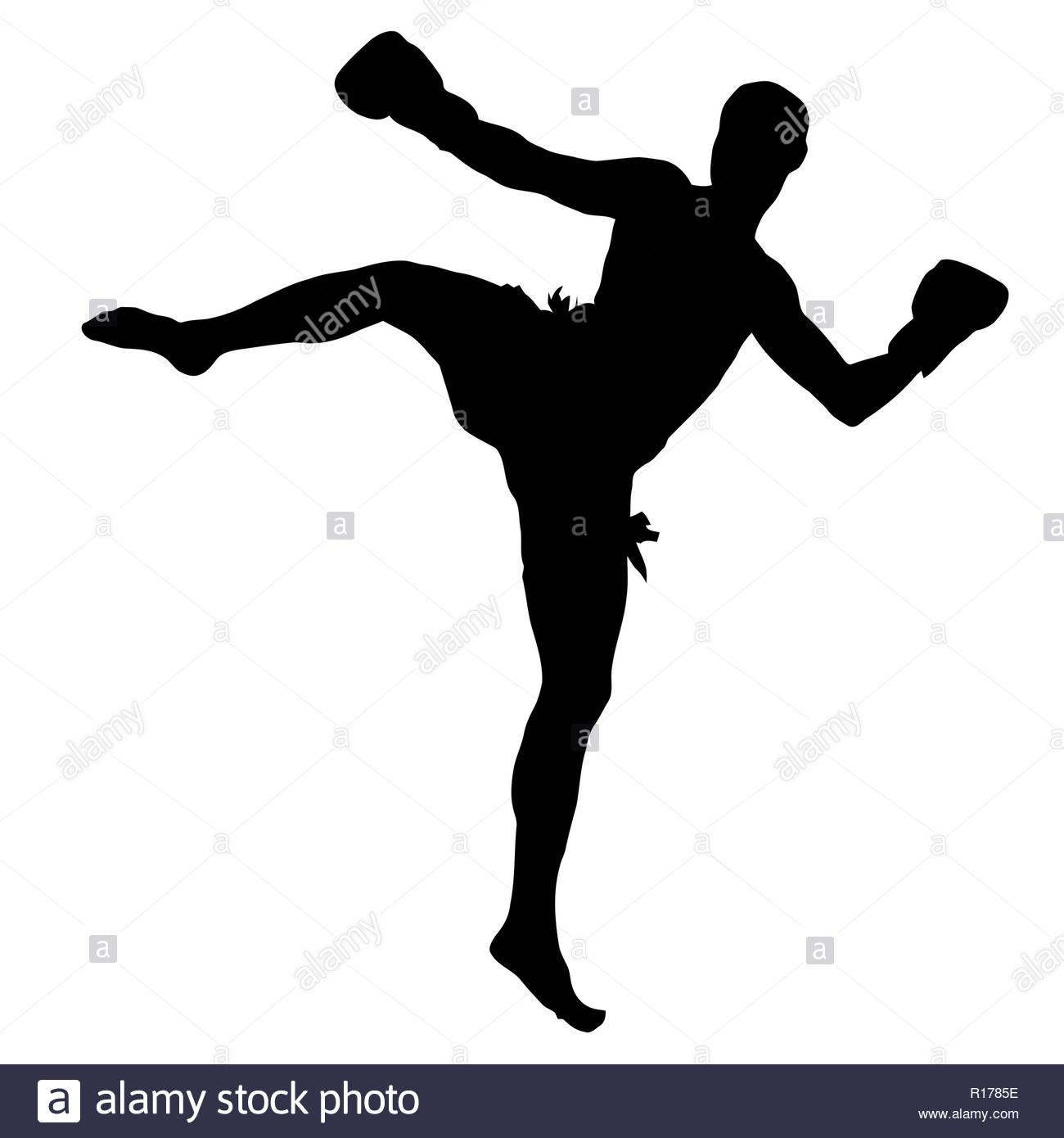 muay thai kickboxing combat sport silhouette illustration - Stock Image