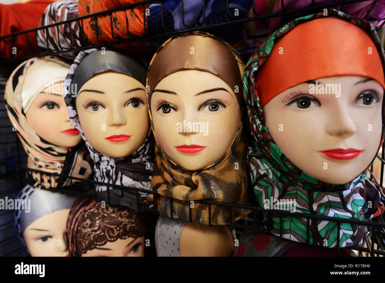 Manikins dressed with hijabs. - Stock Image