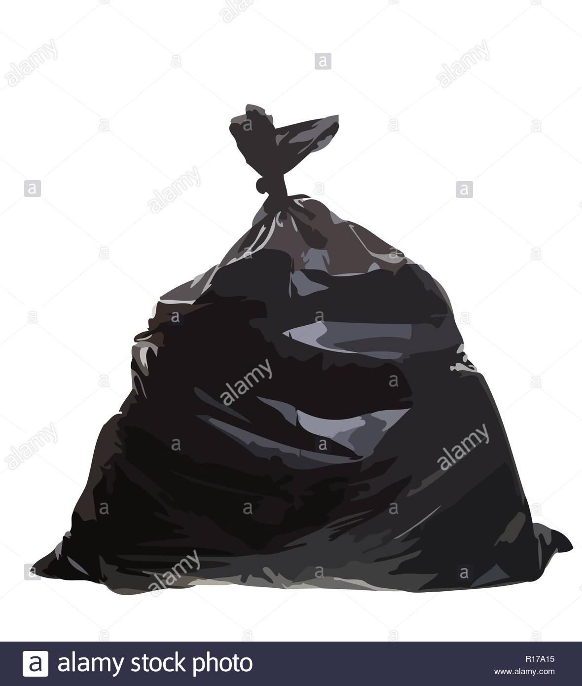 plastic bag rubbish garbage black junk trash illustration - Stock Image
