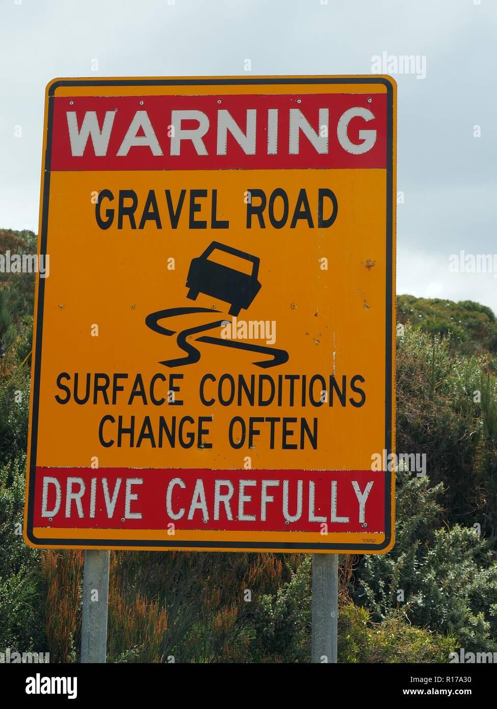 Gravel Road - Drive Carefully - Stock Image