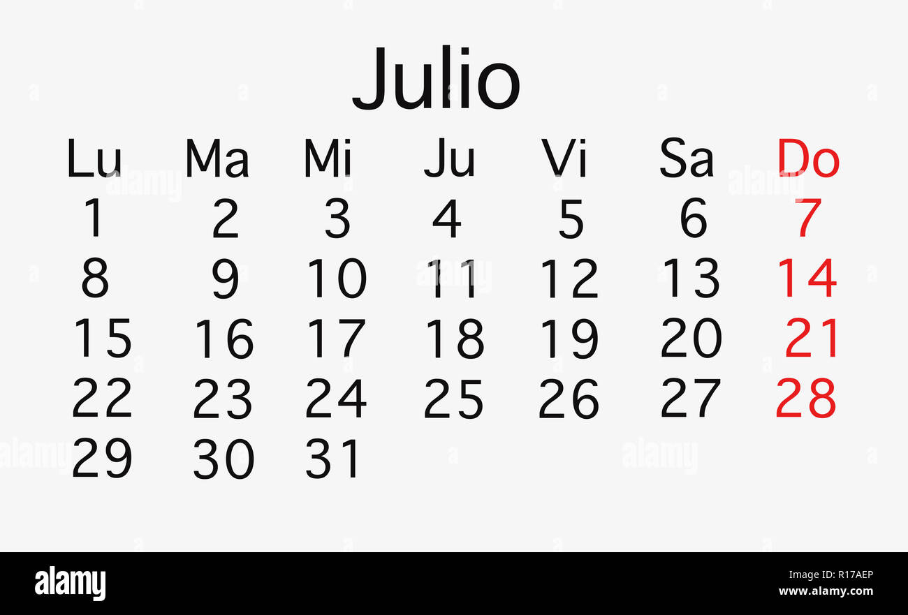 Calendario Julio 2019 Vector.July 2019 Planing Calendar Vector In Black And Red Colors