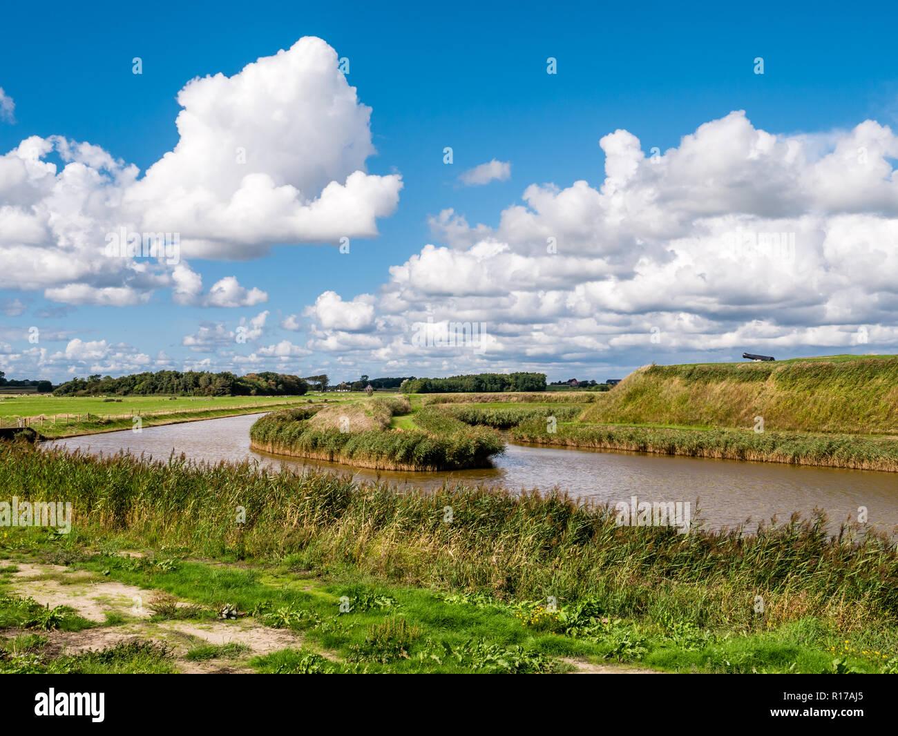 Fort de Schans and polder landscape on West Frisian island Texel, Noord-Holland, Netherlands - Stock Image
