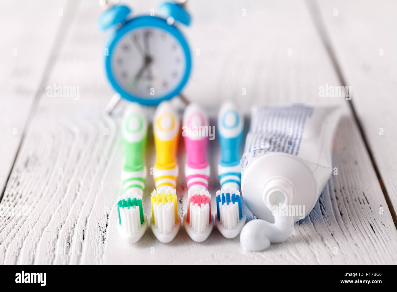 Close-up on toothpaste and toothbrush - Stock Image