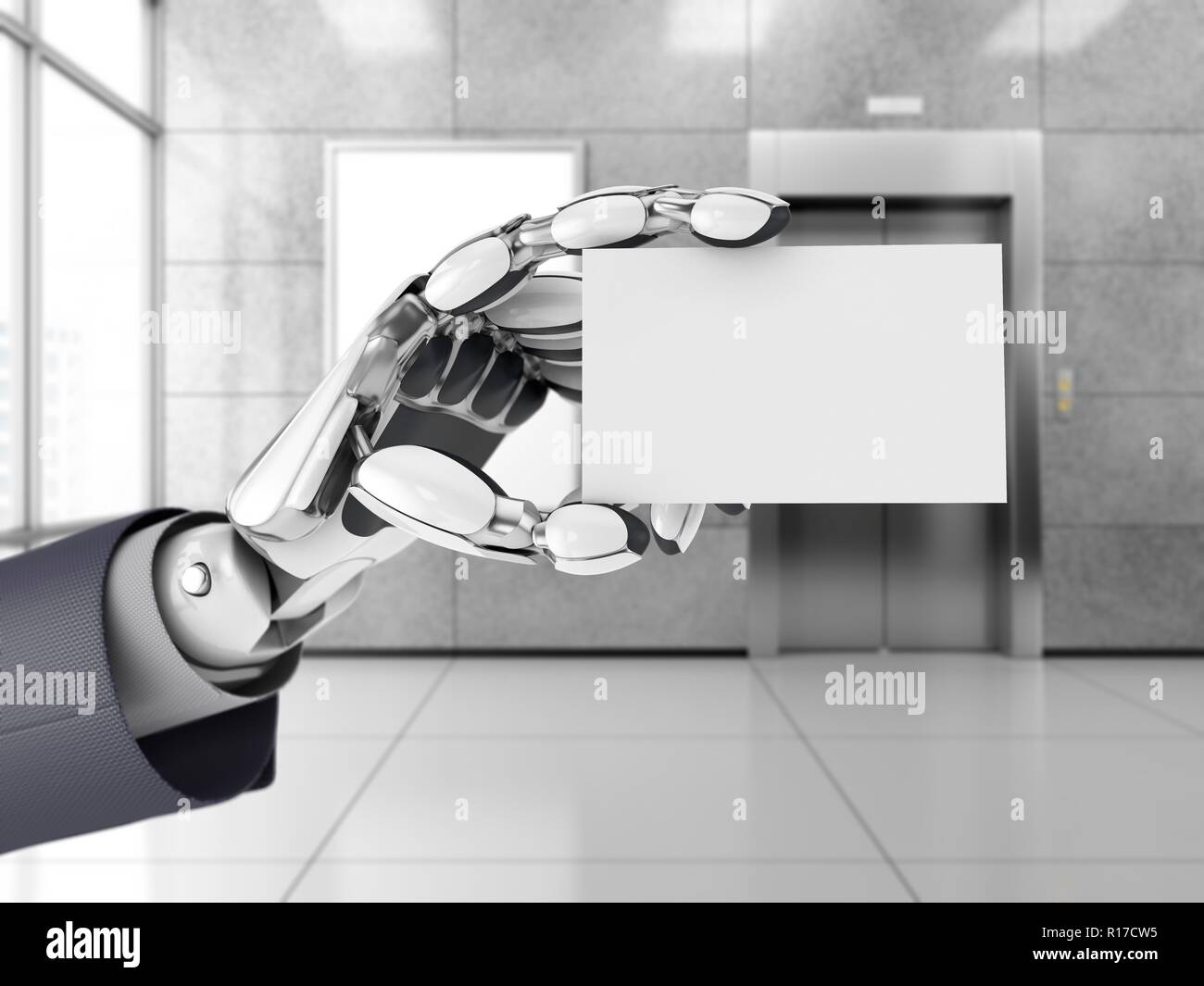 Technology Management Image: Robotics Hand Hold Blank Business Card In A Office Space
