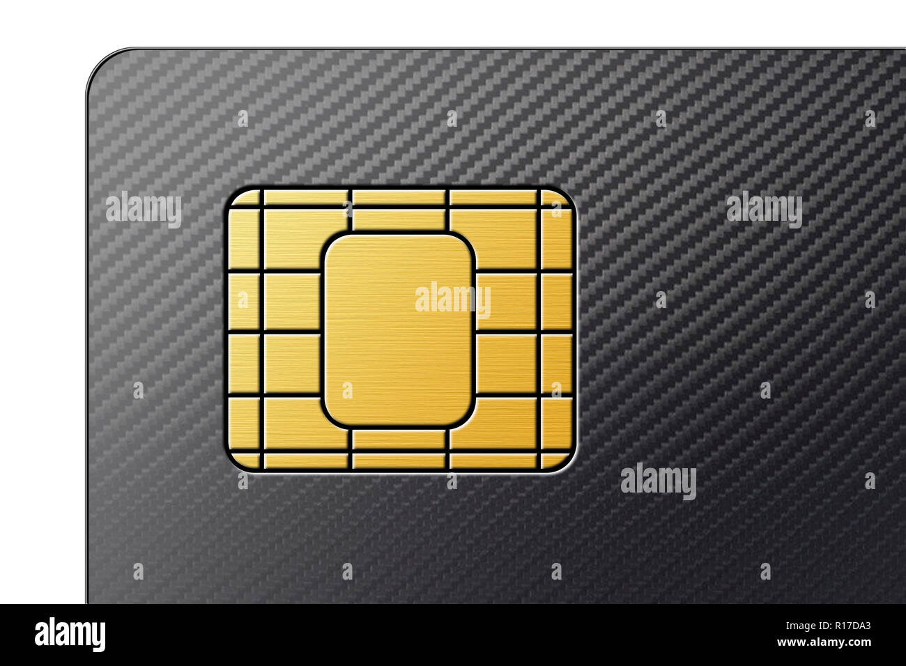 SIM card (subscriber identity module card) close up detail of corner - Stock Image