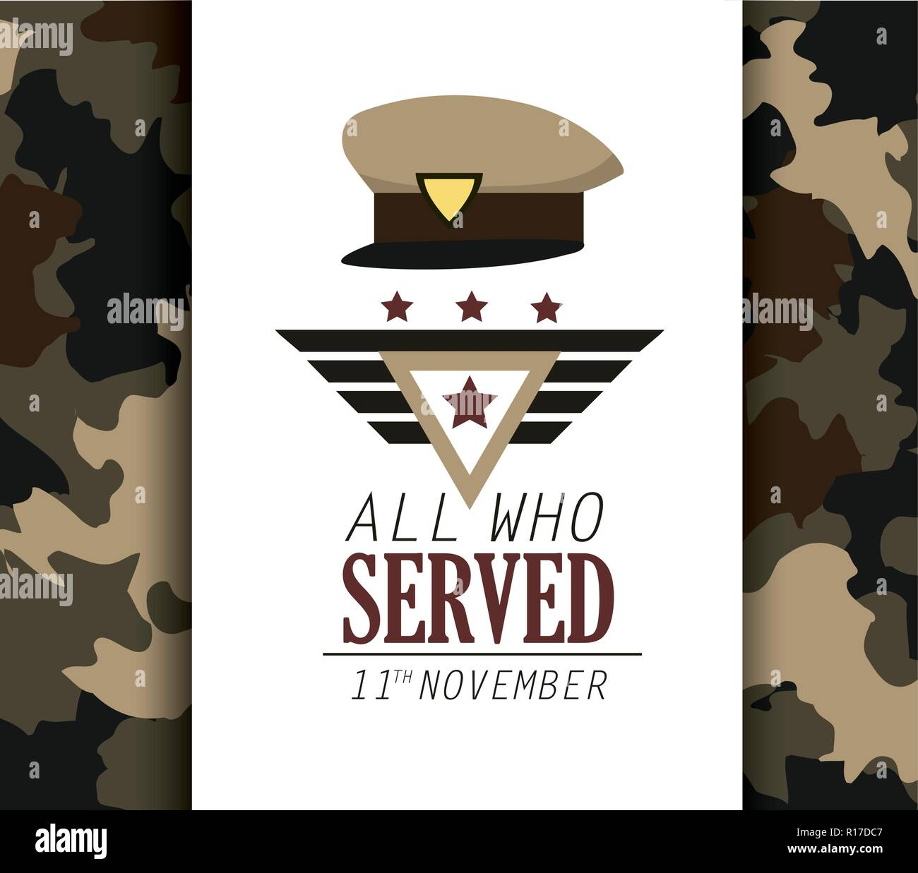 policeman cap symbol to veterans day Stock Vector
