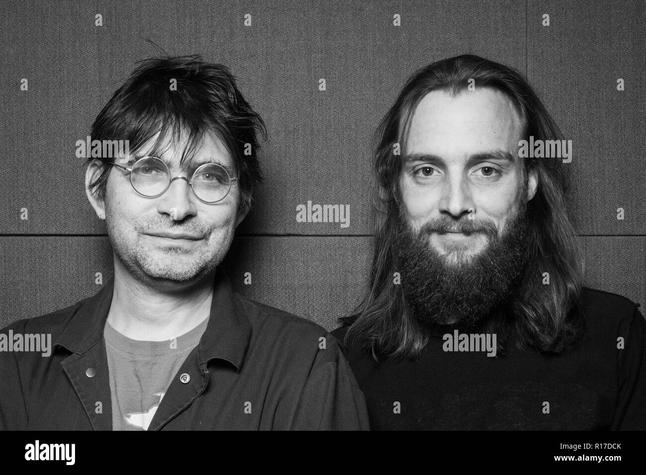 Steve Albini and John Grabski III at Electrical Audio recording studio in Chicago. - Stock Image