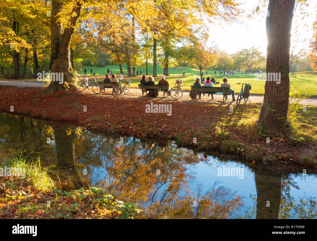Englischer Garten Park in autumn, Munich, Germany - Stock Image