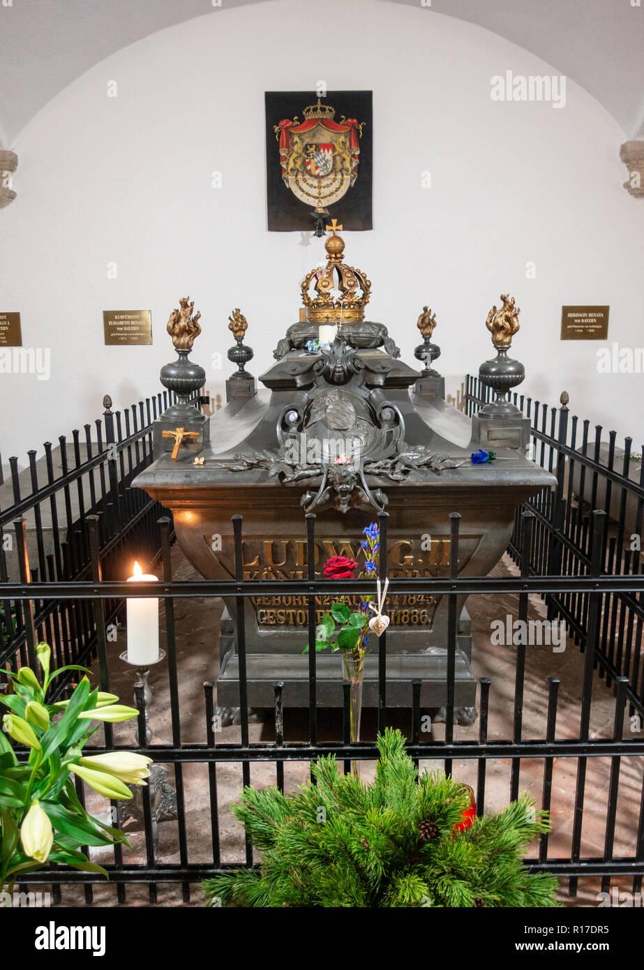 "Tomb of ""Mad"" King Ludwig II of Bavaria, Munich Stock Photo"