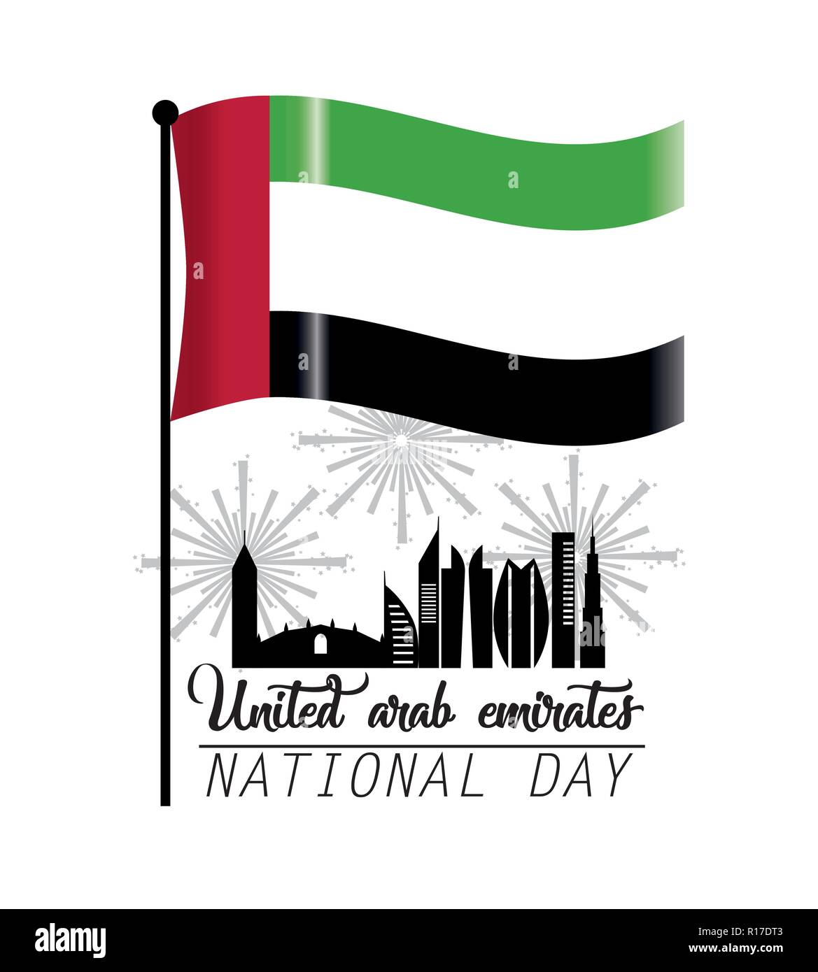 uae flag with building and firewords to national day - Stock Image
