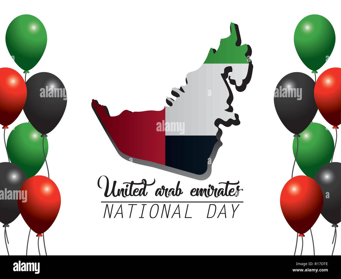 uae national map with flag and balloons - Stock Image