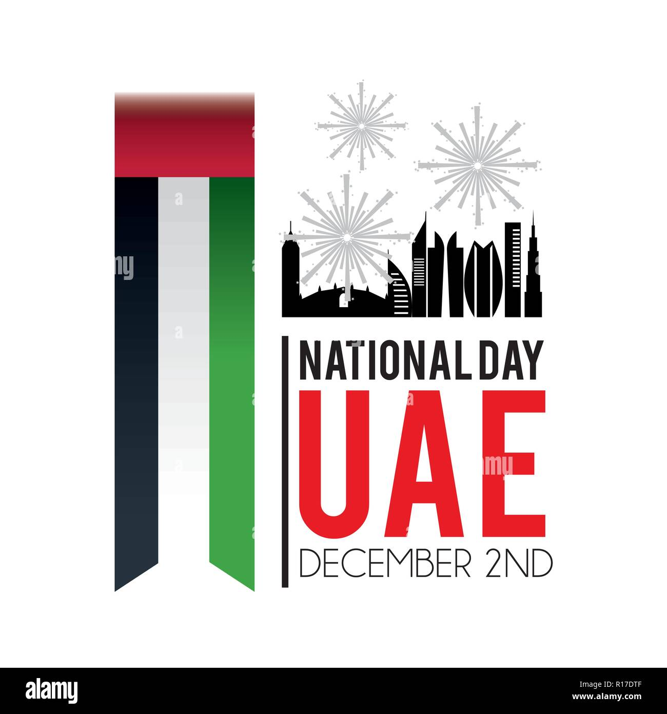 uae flag with building and firewords to celebration Stock Vector