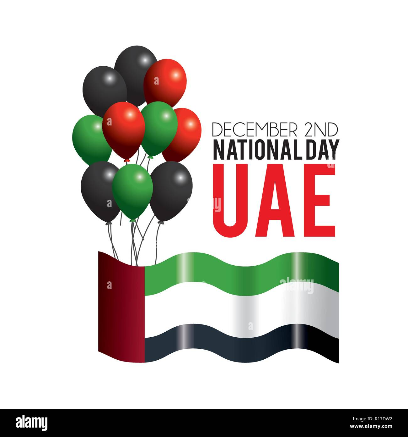 uae flag with balloons to celebrate patriotic day - Stock Image