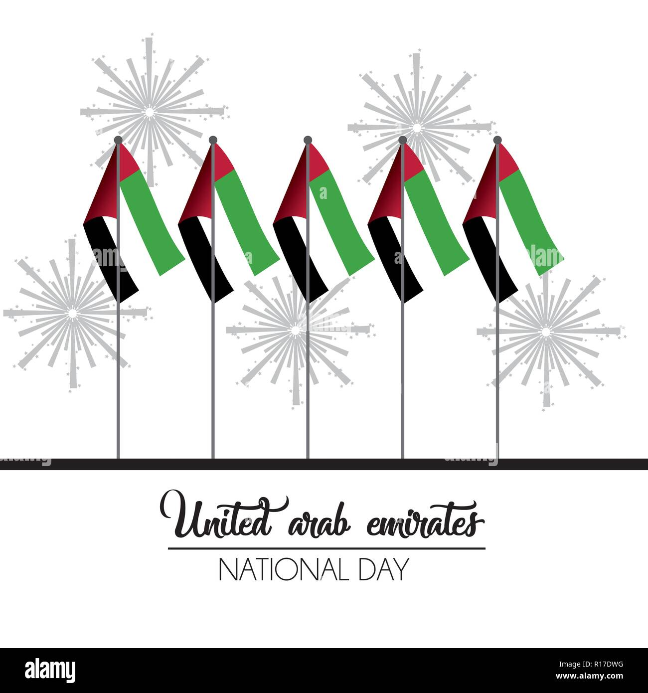 uae flags to firewords to national day celebration - Stock Image