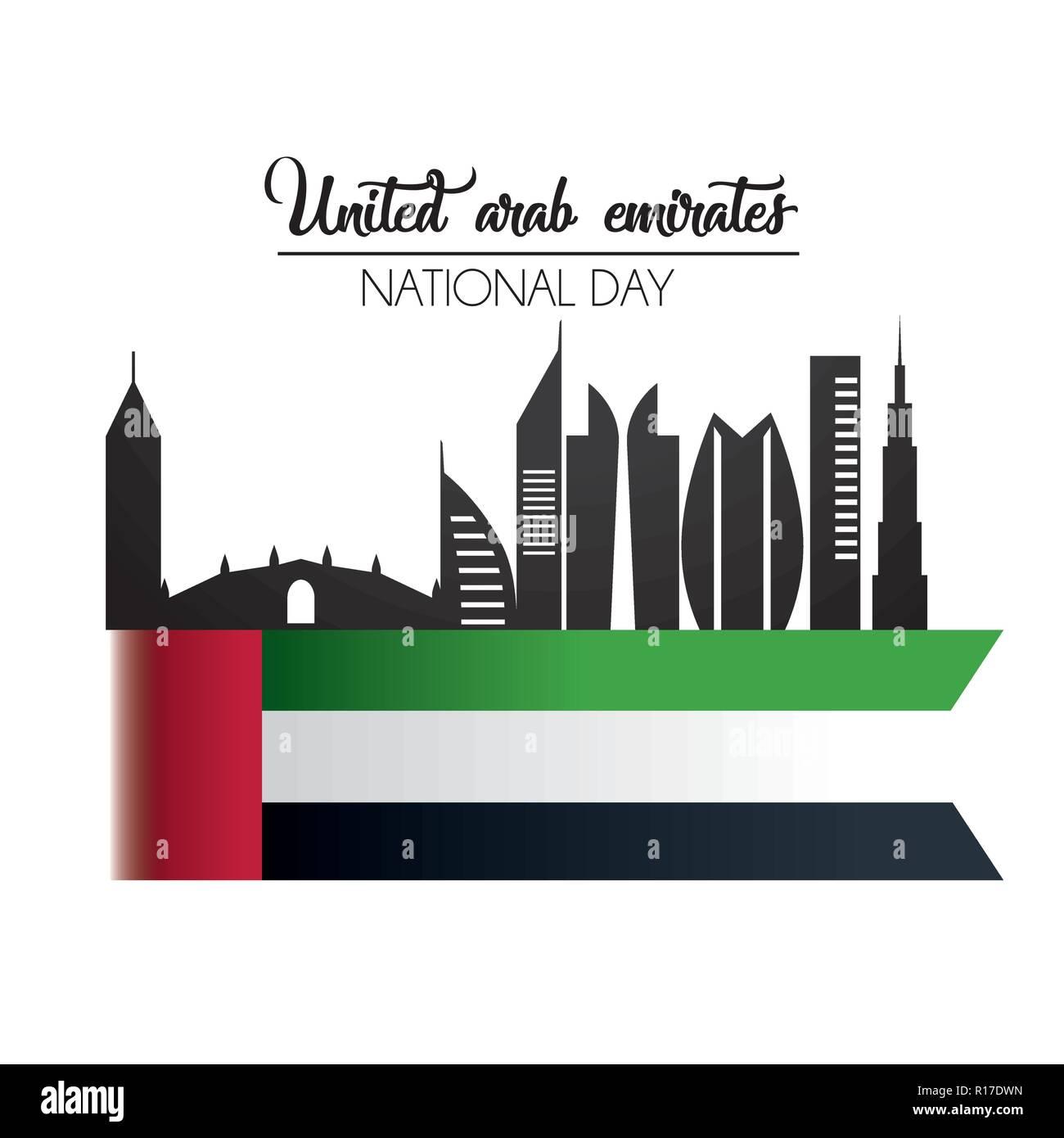 uae flag with building to national day celebration - Stock Image