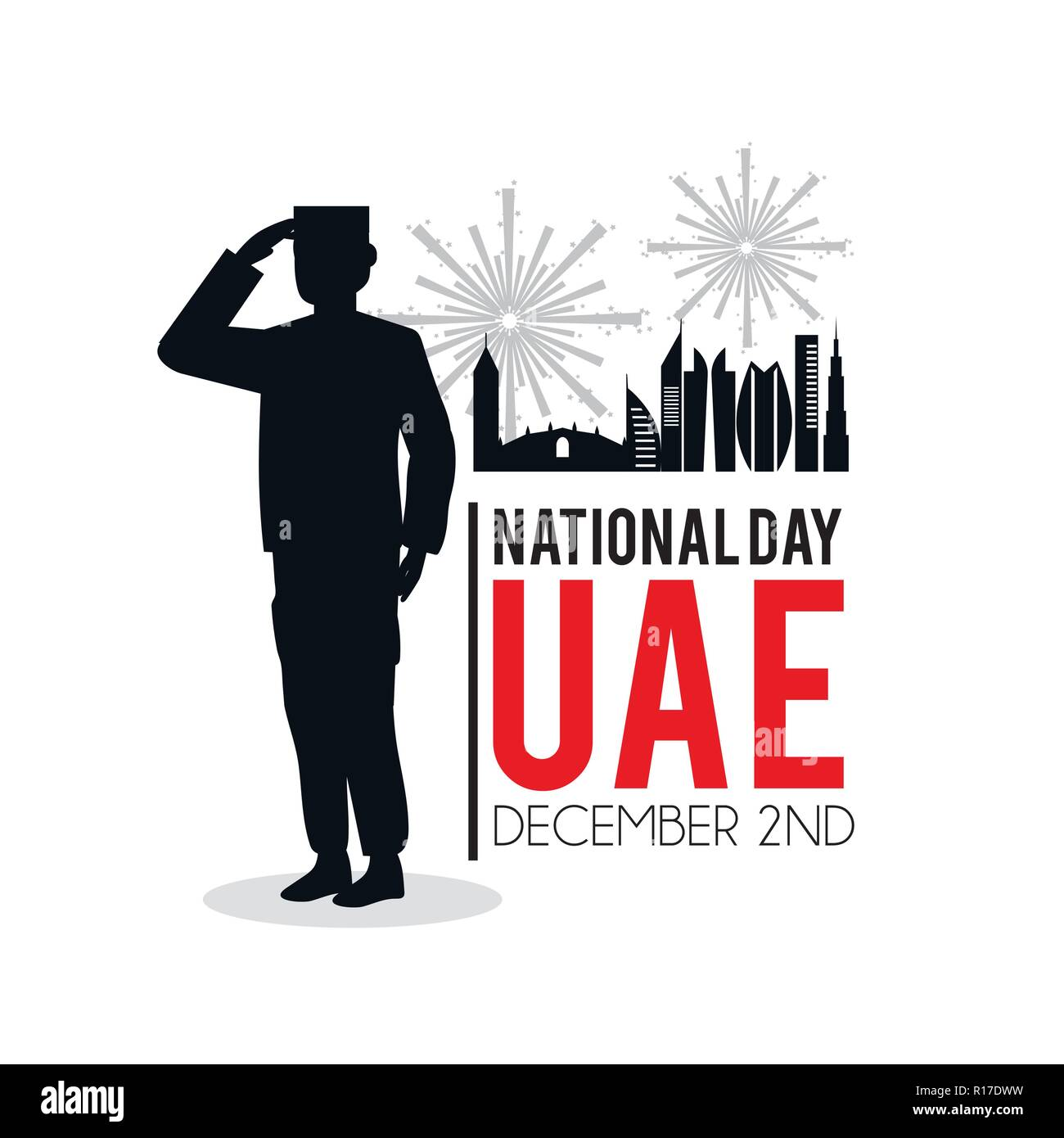 soldier with uae patriotic national day - Stock Image