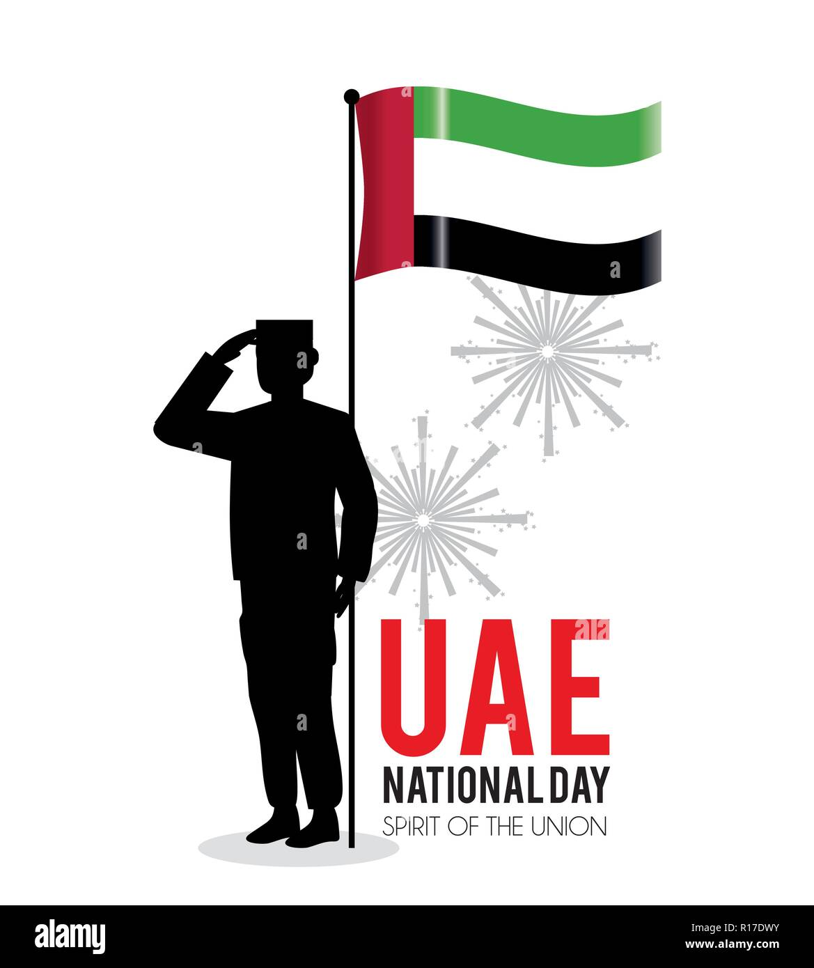 soldier with uae flag to celebrate national day - Stock Image