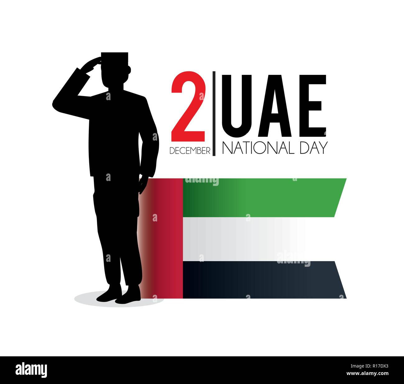 uae flag and soldier to celebrate national day - Stock Image