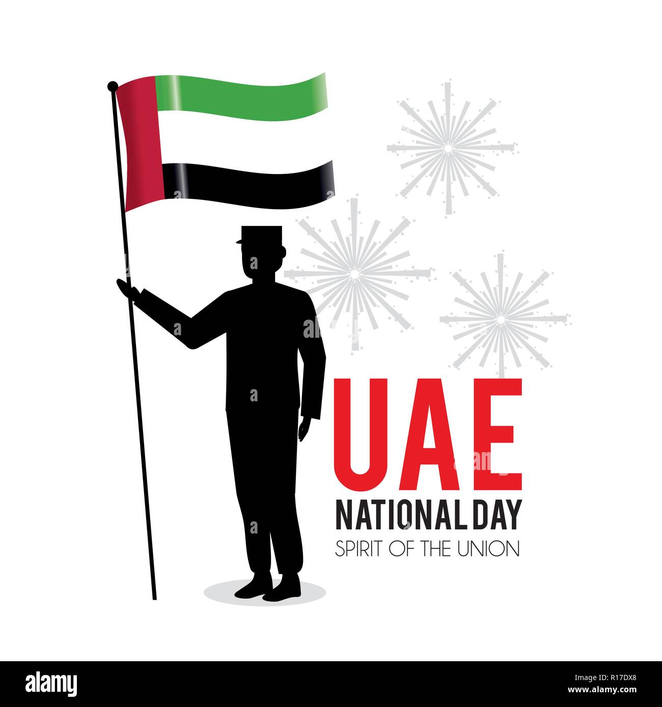 soldier with uae flag to national day - Stock Image