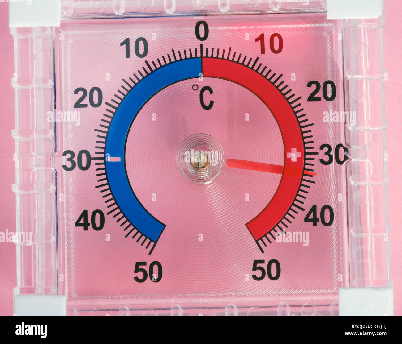 Outdoor Window Wall Thermometer on pink background Stock Photo