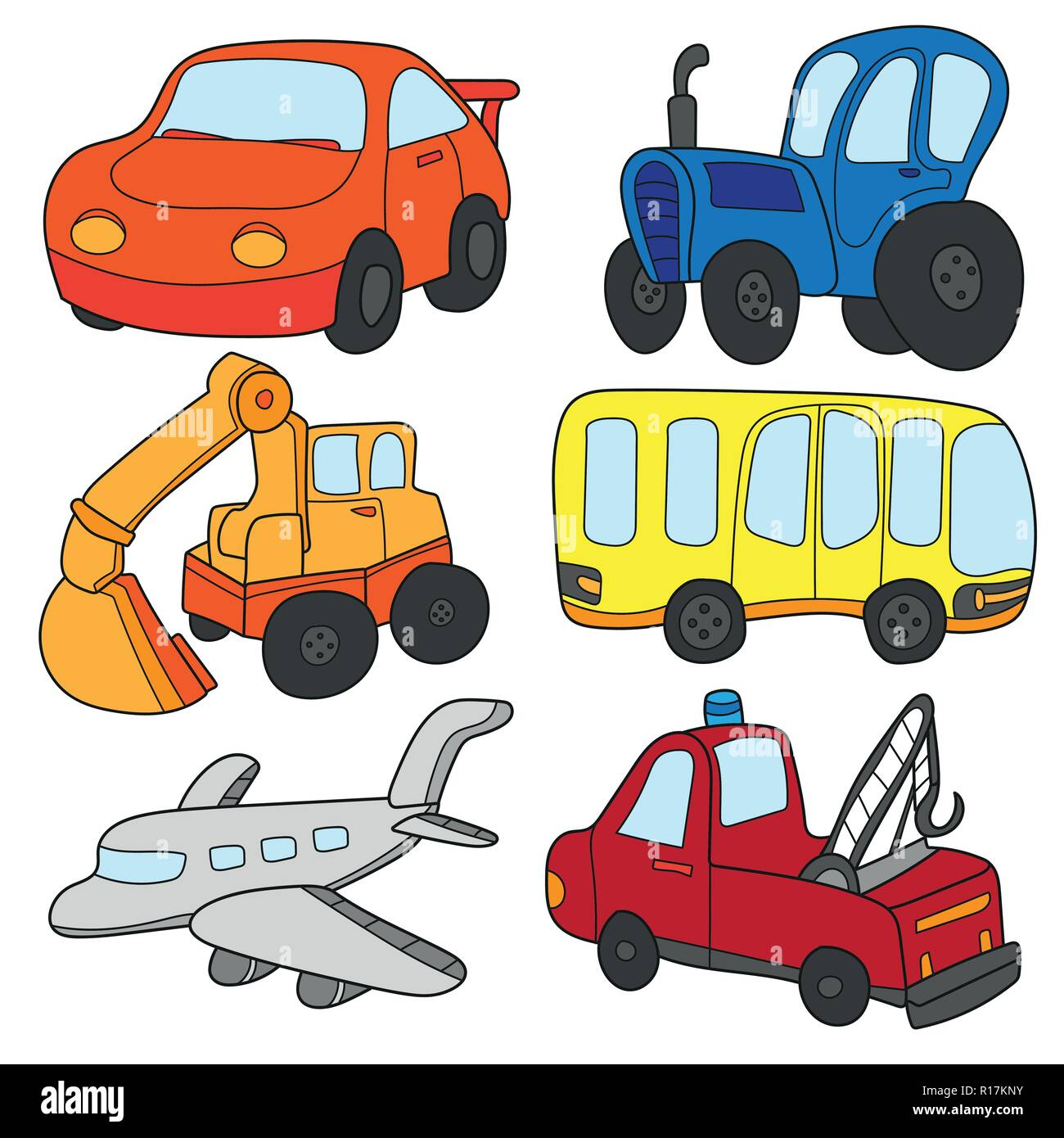 Cartoon Cars Collection Vector Of Transportation Theme With Car