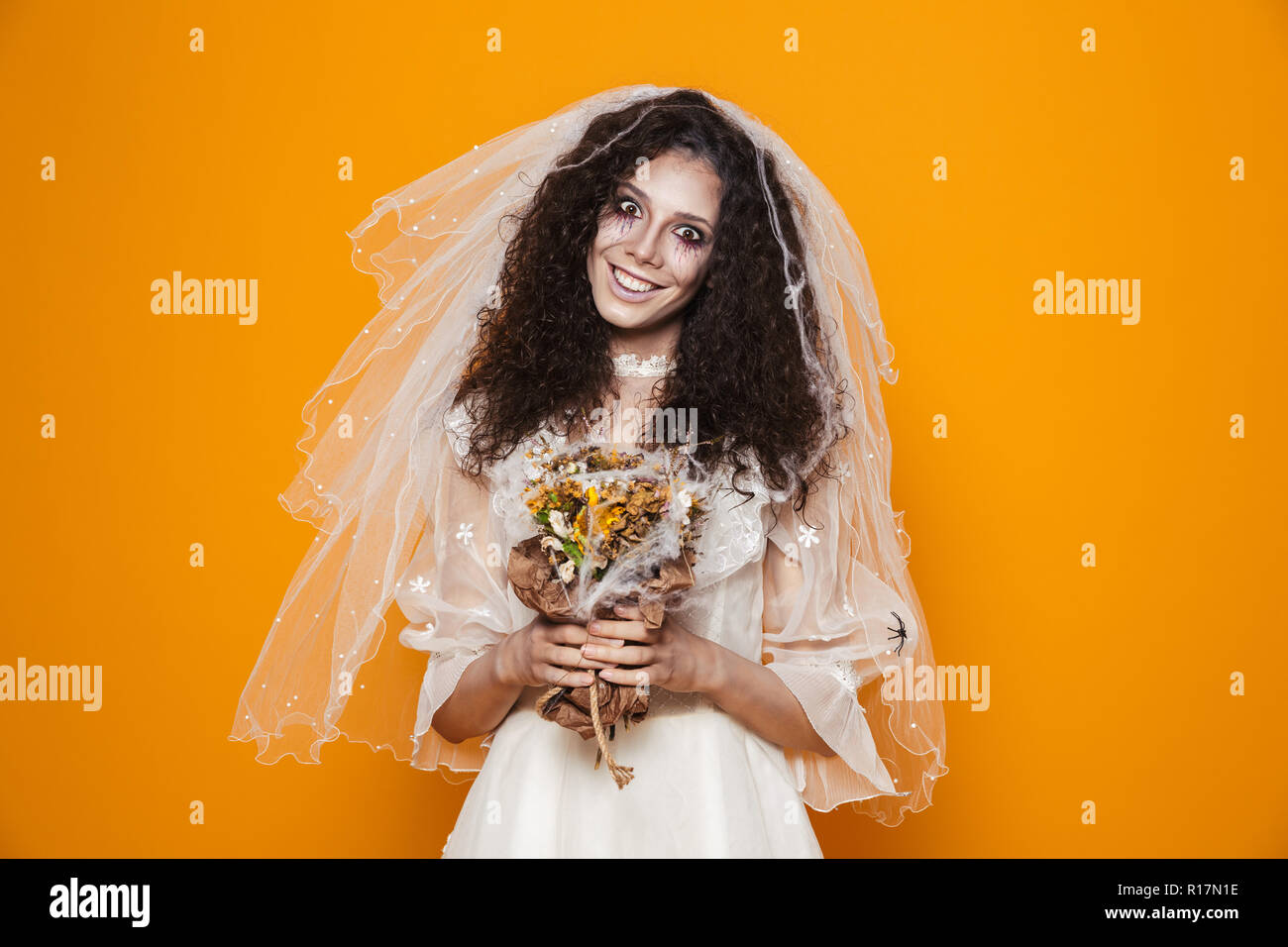 Image Of Dead Bride Zombie On Halloween Wearing Wedding Dress And
