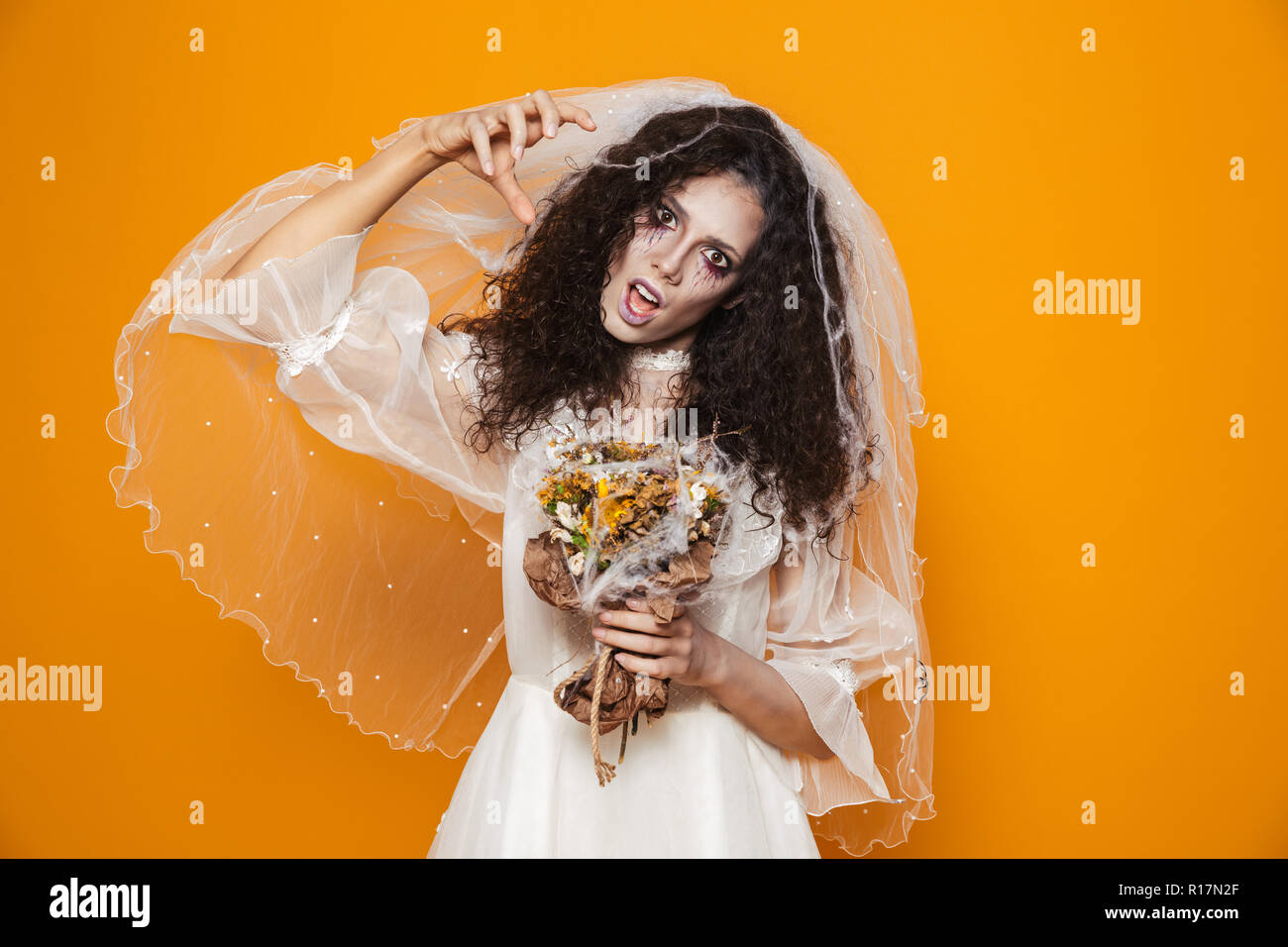 Creepy Dead Bride In White Wedding Dress Looking Camera And Scary