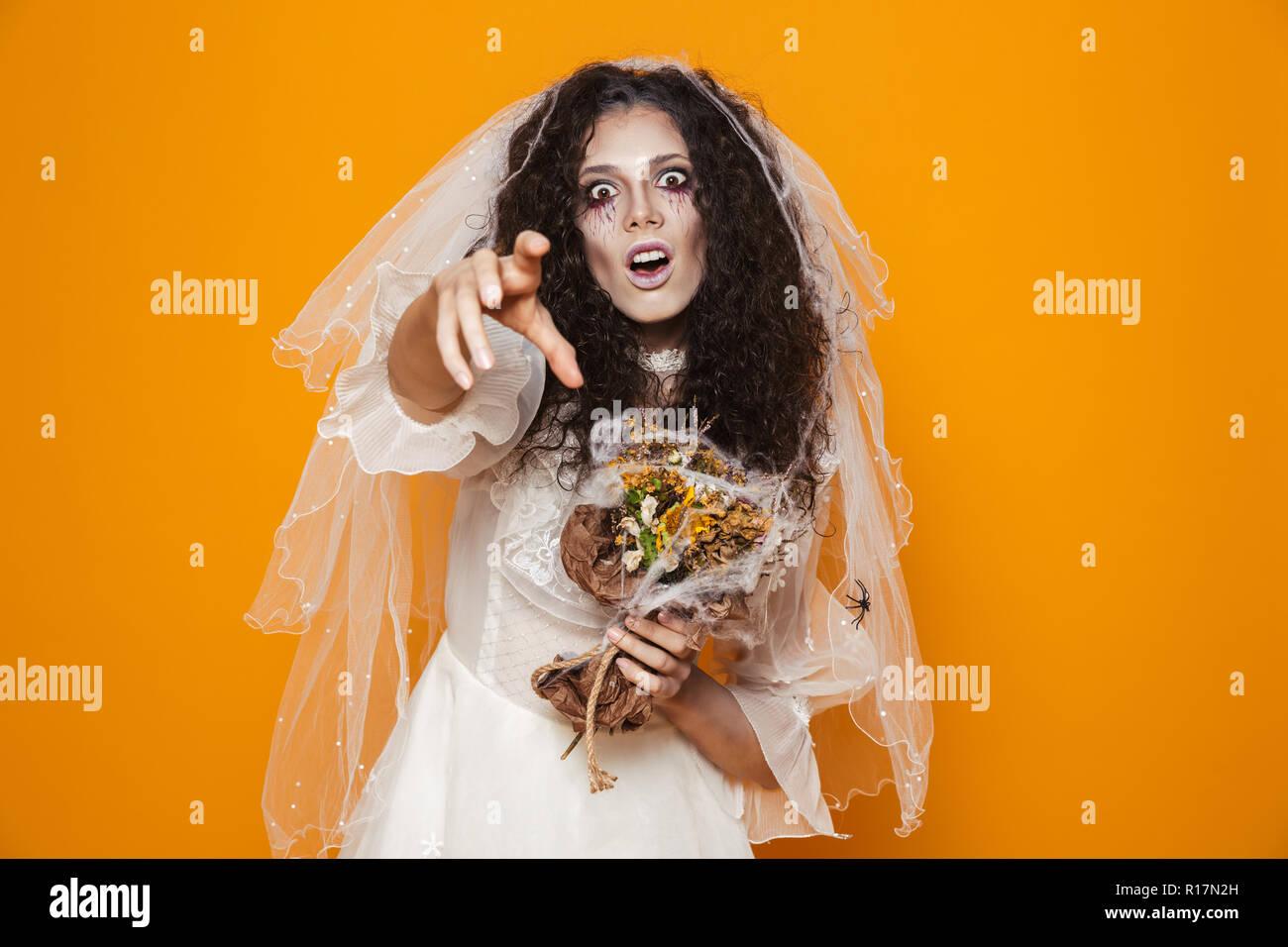 Halloween Looks With Everyday Makeup.Image Of Creepy Bride Zombie On Halloween Wearing Wedding