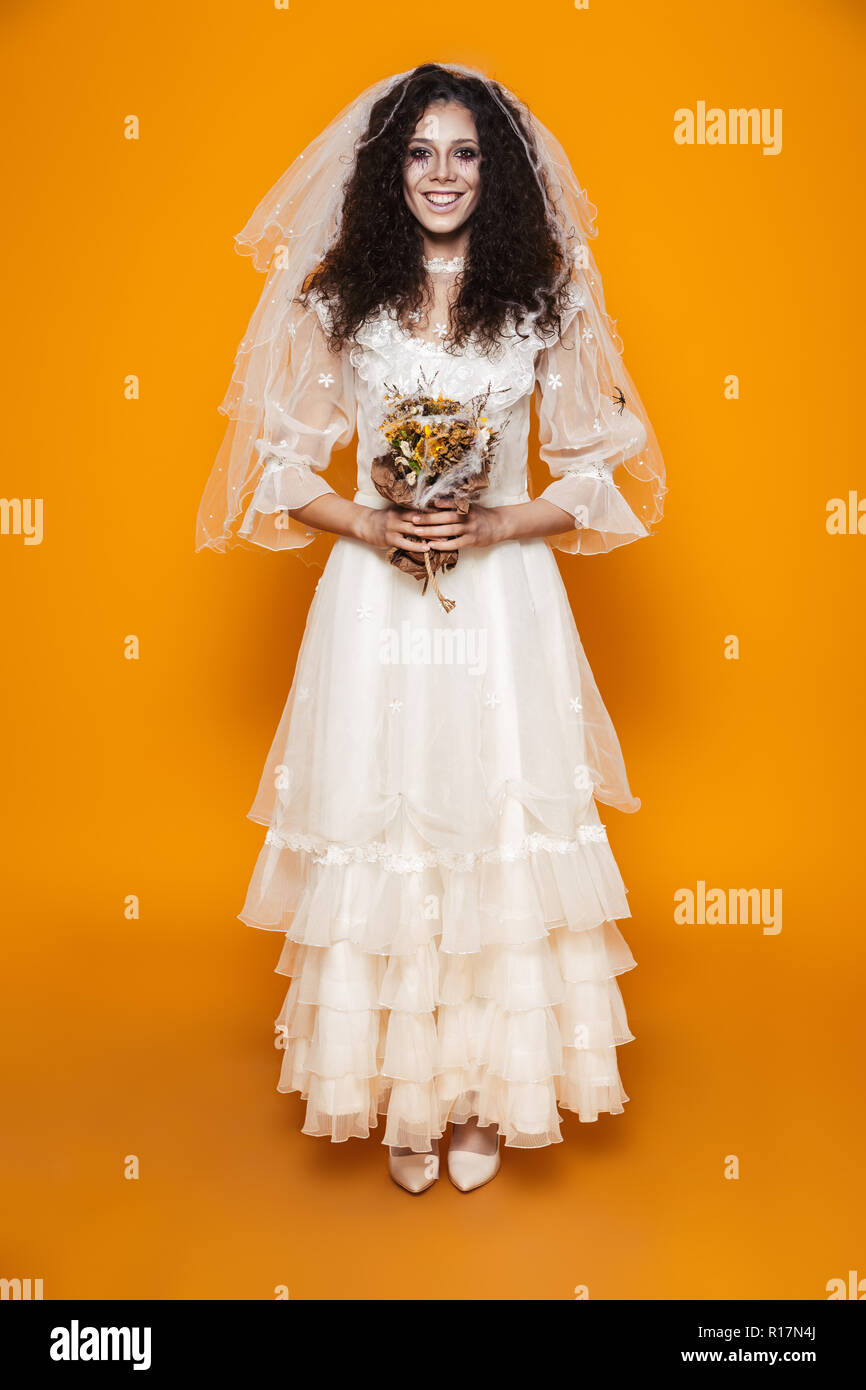Full Length Shot Of Happy Bride Zombie In White Wedding Dress With