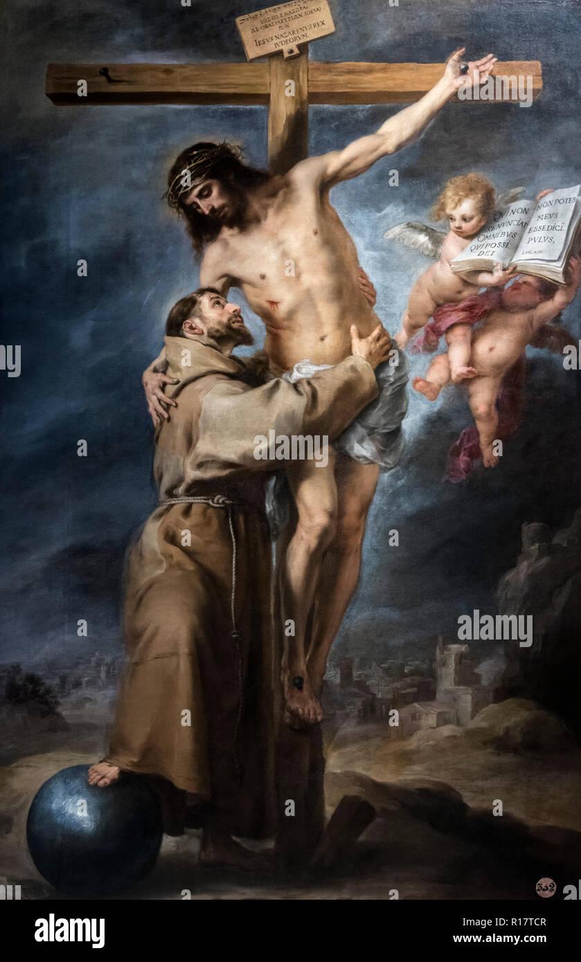 St Francis Embracing Christ (San Francisco Embrazando a Cristo en la Cruz) by Bartolomé-Esteban Murillo (1617-1682), oil on canvas, c.1668-9 - Stock Image