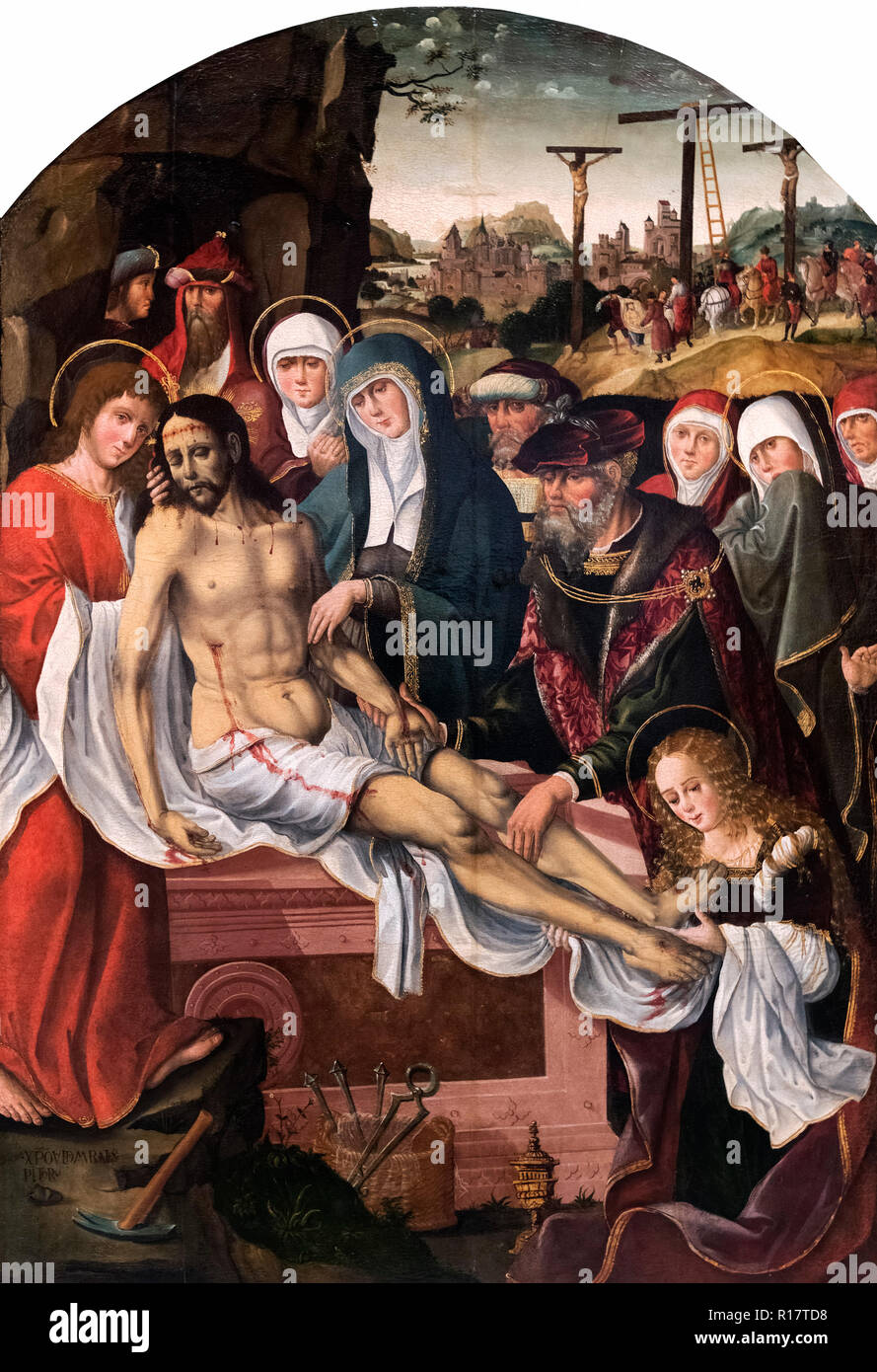 The Burial of Christ by Cristobal de Morales, c.1525. - Stock Image