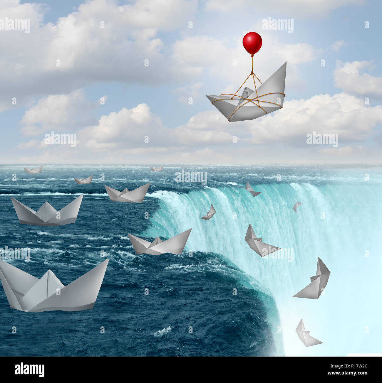 Insurance protection and risk aversion security symbol as paper boats in peril with one saved by a balloon as a coverage assurance concept. - Stock Image
