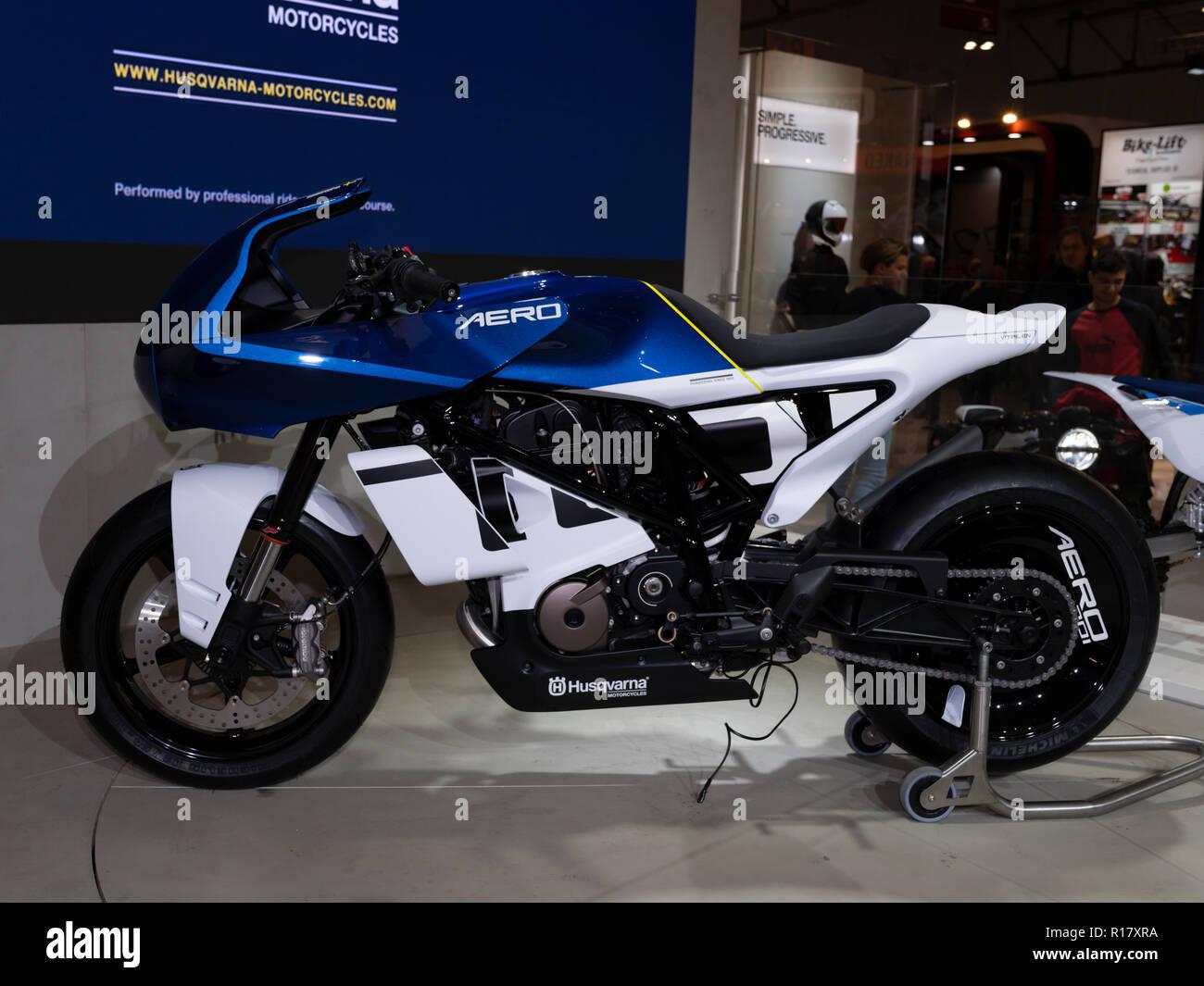 MILAN, ITALY – NOV 08, 2018: Husqvarna Vitpilen Aero 701 at EICMA Motorbike show - Stock Image