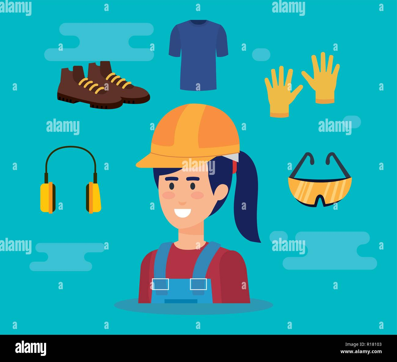 female builder with equipment vector illustration design - Stock Image