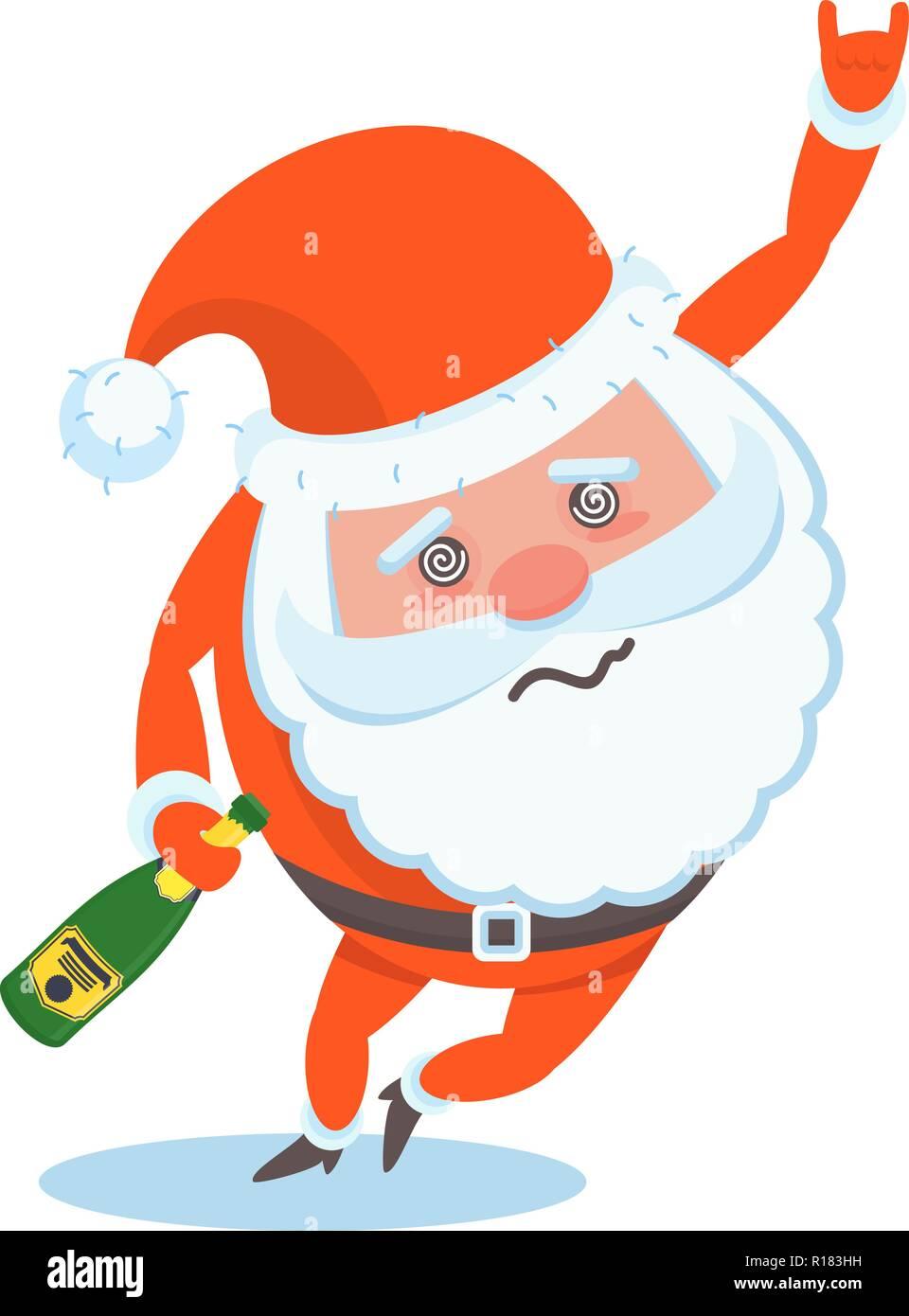 Funny happy Santa Claus character Christmas cards Stock Vector Art ...