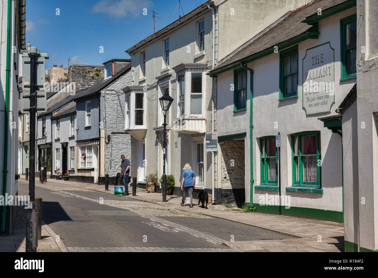 28 May 2018: Buckfastleigh, Devon UK - Fore Street, with the Valiant Soldier Museum. - Stock Image