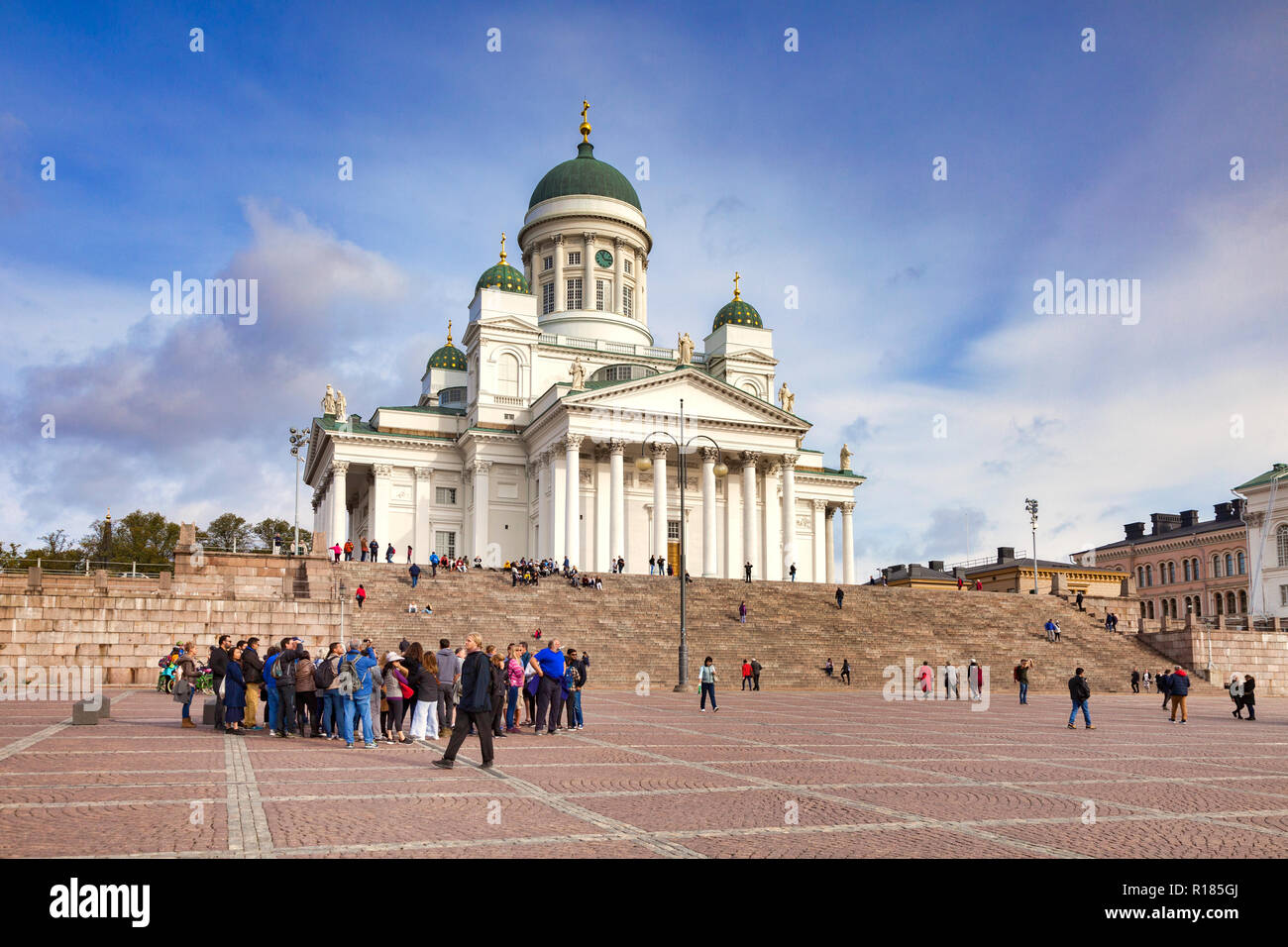 20 September 2018: Helsinki, Finland - Tour group at Helsinki Cathedral,  the Finnish Evangelical Lutheran cathedral of the Diocese of Helsinki, in Se - Stock Image