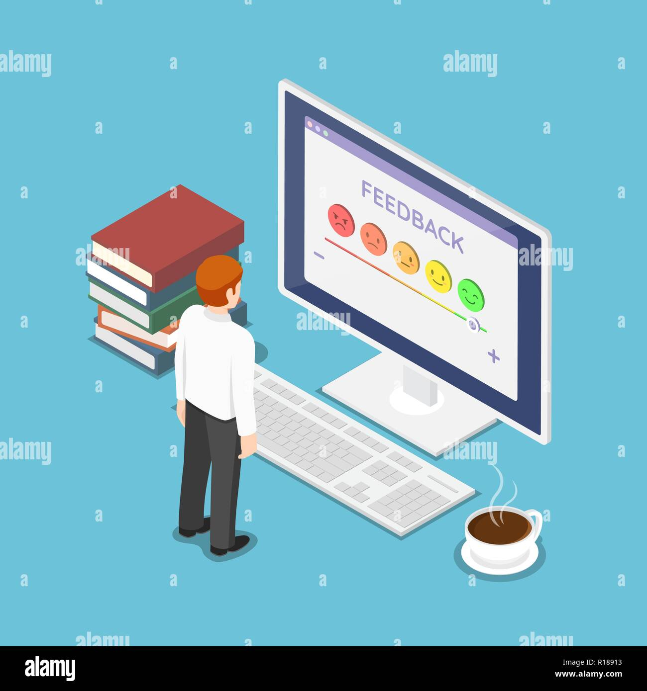 Flat 3d isometric businessman look at rating screen. Customer satisfaction feedback and rating concept. - Stock Vector