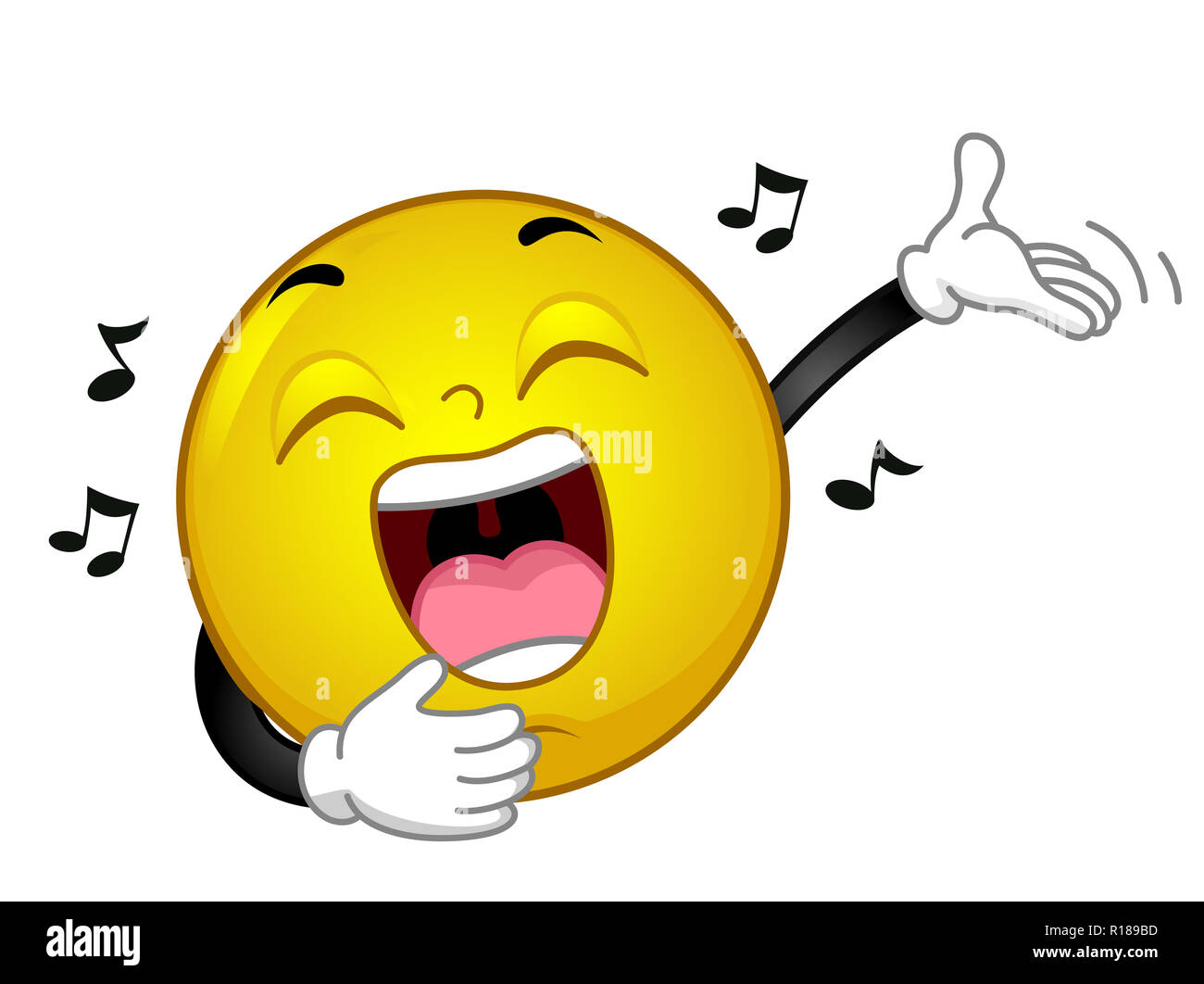 Illustration of a Smiley Mascot with Hands Up Singing Loudly, with Music Notes Around - Stock Image