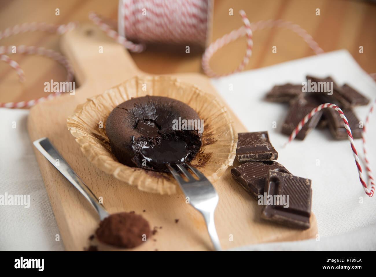 Hot Chocolate Fondant Cake Stock Photo