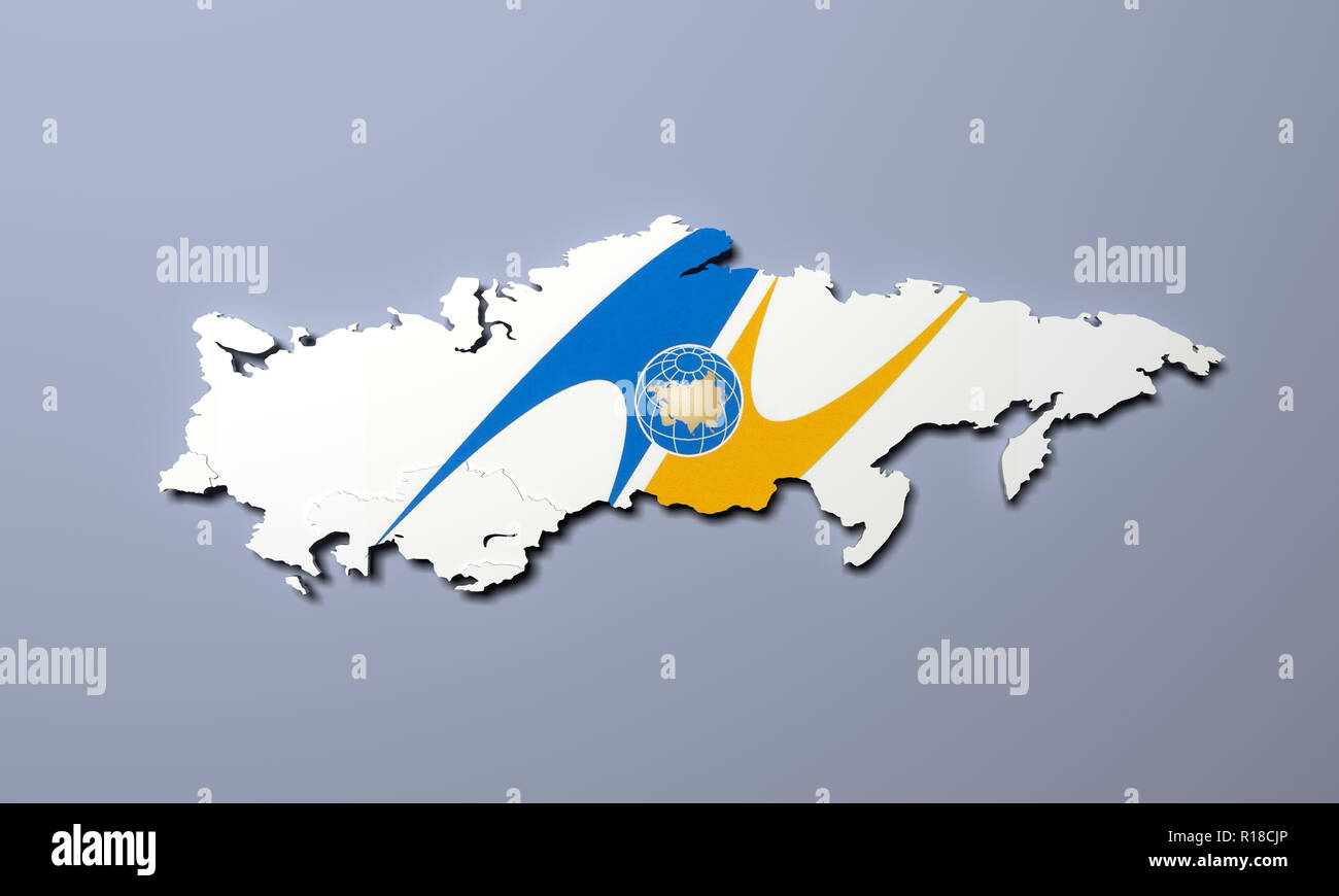 Schematic map of the member states of Eurasian Economic Union (EAU) National flags Russia Belarus Kazakhstan and Armenia on grey background 3d render - Stock Image